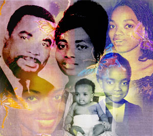 Composed image by Marie Aude Design dedicated to Solange et Felix Oyoue - Cathy O through-out different stage of her life with her Parents